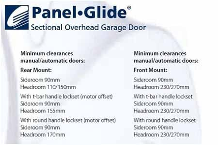 Gliderol Panel Glide sectional door installation requirements