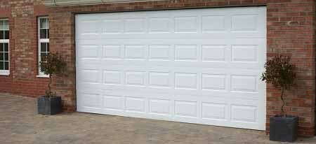 Gliderol Oxford single skin sectional door fitted to double garage