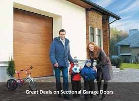 Sectional door fitted to garage with family playing on driveway