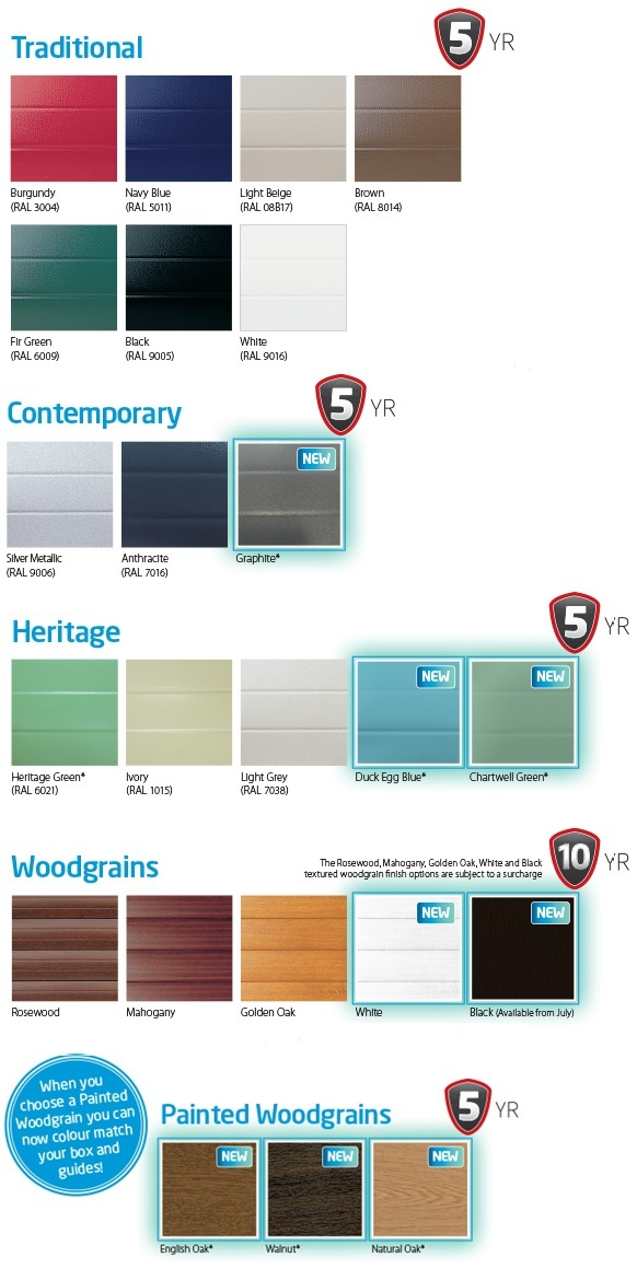 Seceuroglide roller garage door colour chart