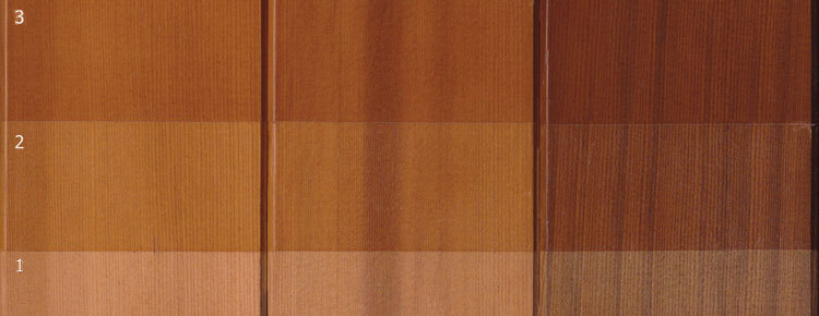 Image shows the effect of using different timber boards on a single shade of stain