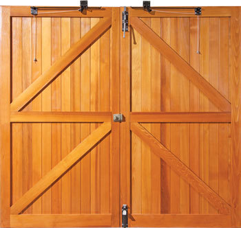 Rear face of Woodrite side hinged wooden garage door showing braced construction